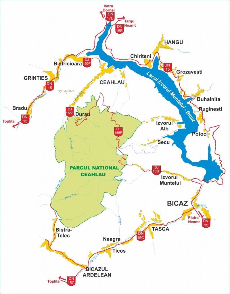 Harta cailor de acces in Masivul Ceahlau