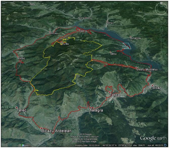 harta satelit parcul national ceahlau